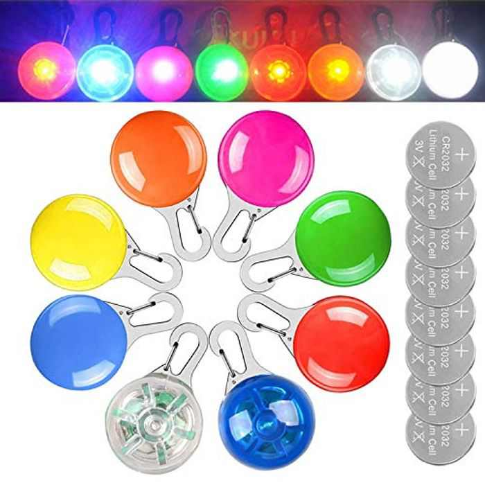 JOYJULY Pet Dog Collar Light( 8 PACK),Highlight Cat Dog LED Light Up Collar Ball for Dark, Waterproof Safety Pet Light for Night Walking with 3 Flashing Modes(8 Extra Batteries)