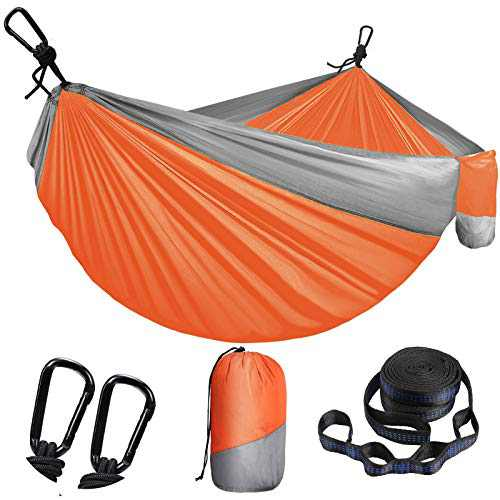 Camping Hammock for Outdoors, Travel, Backpacking,Camping Gear-Double Hammock with Tree Straps(18+1 Loops)&Carabiners,Nylon Portable Hammock,2 Person Hammock for Tree&Hiking Gear-660lbs
