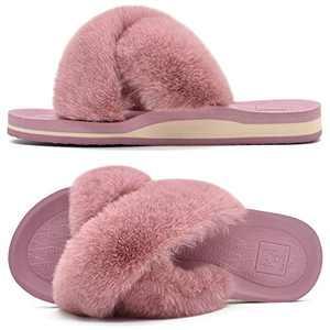 KUAILU Womens Fuzzy Slides Fluffy Faux Fur House Slippers Open Toe Yoga Mat Cross Sliders Hard Rubber Sole Sandals Pink Size 7