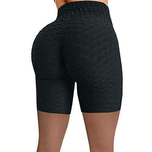 UNBRUVO Women Wrinkled High Waist Hip Stretch Tummy Control Workout Running Fitness Yoga Pants Biker Shorts (Black, L)