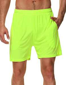 SPECIALMAGIC Men's Running Shorts 5 Inch Neon Lightweight Quick Dry Workout Gym Basketball Beach Soccer Tennis Athletic Shorts with Linner Pockets Neon Yellow