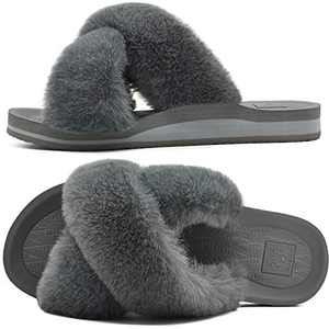 KUAILU Womens Fuzzy Slides Fluffy Faux Fur House Slippers Open Toe Yoga Mat Cross Sliders Hard Rubber Sole Sandals with Arch Support Grey Size 6