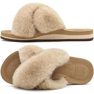 KUAILU Womens Fluffy Faux Fur Slippers Open Toe Fuzzy Plush Fleece House Slippers Arch Support Yoga Mat Memory Foam Furry Slippers Hard Rubber Sole Summer Winter Warm Slides Slippers Beige Size 10
