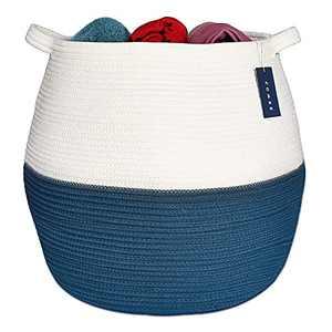 "COMSE Large Blanket Basket, Storage Basket, Large Rope Basket, 17.7""x 17.7"", Tall Rope Laundry Basket, Cotton Rope Basket, XXL Laundry Basket, Toy Basket,Woven Basket, Clothes Baskets,White/Cadet Blue"