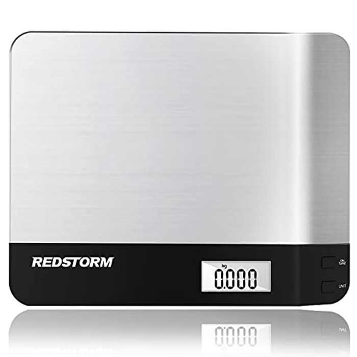 REDSTORM Kitchen Scales Digital, Food Scales for Weighing 1g/0.1oz, Premium Stainless Steel Cooking Scales with LCD Display, Tare Function, Long Stand-by Mode for Baking 6kg/13lb