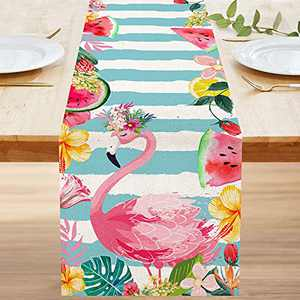 Bonsai Tree Summer Table Runner 72 Inch, Pink Flamingo Beach Burlap Table Runners, Watermelon Lemon Tropical Striped Small Dining Coffee Dresser Scarves Table Cloth Decor for Home Dining Room Parties