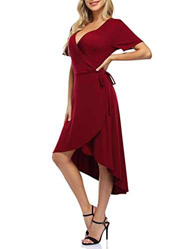 Leadingstar Women's Cocktail Party Dress Short Sleeve V Neck High Low Wrap Midi Party Dress