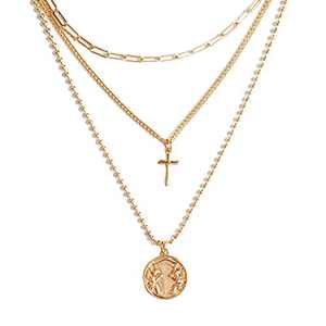 Cross Layered Choker Necklace for Women, 14K Gold Plated Y Pendant Necklace Multilayer Bar Disc Necklace Adjustable Layering Choker Necklaces for Women and Girls