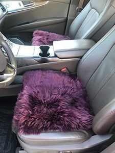 Genuine Sheepskin Long Wool Cushion, Sheepskin Car Seat Covers, Auto Seat Pad, Fuzzy Car Seat Cover, Office Chair Cushion, Fluffy Wool Seat Cover, Soft Warm Winter Seat Cushion (Burgundy Color)