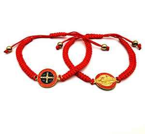 6 Pieces Religion Enamel Saint Benedict Bracelet Red Rope Bracelet Handmade Red Knot String Bracelets Luck bracelet Men Or Women As Gifts and Used in Prayer bracelet