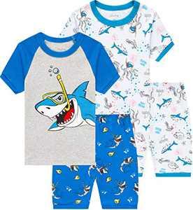 Boys Sharks Pajamas Summer Children Cotton Pjs Toddler Kids Sleepwear Clothes Size 7