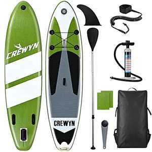CREWYN Inflatable Stand Up Paddle Board - 10'30''6'' SUP Paddle with Carry Bag & Premium SUP Accessories, Wide Stance, Non-Slip Deck, Leash, and Pump, Blow Up Paddle Boards for Adults Youth Beginner