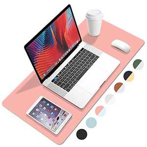 """FANMI PU Leather Desk Pad with Suede Base, Laptop Desk Table Protector Writing Mat, Waterproof Desk Writing Pad for Office and Home, Dual Sided Desk Pad (23.6""""x11.8"""",Pink-SkyBlue)"""