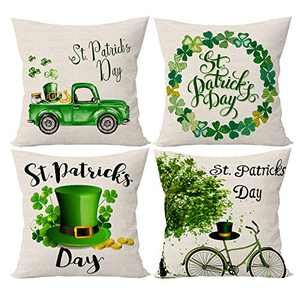 SIBOSUN St. Patrick's Day Pillow Covers 18x18 Inch Set of 4 Clover Shamrock Decorative Throw Pillow Case Lucky Clovers Cotton Tree Truck Bicycle Linen Cushion Case for Home Decor