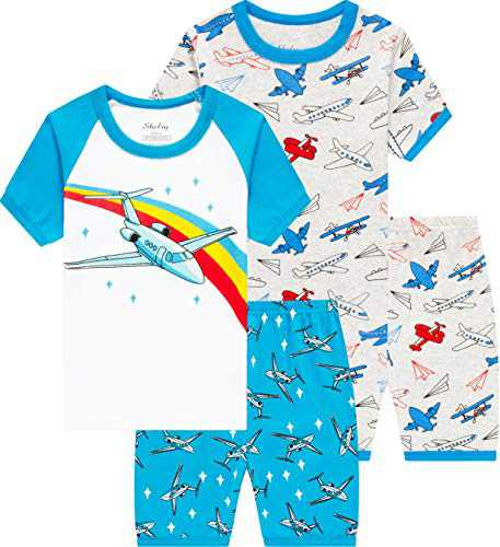 Boys Airplane Pajamas Summer Children Sleepwear Toddler Kids Pjs Clothes Size 7