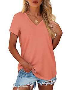 Geifa Tshirts for Womens Short Sleeve V Neck T Shirts Summer Fashion Pink M