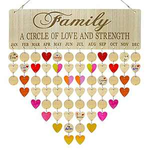 QIENYEA Wooden Birthday Reminder,Family Birthday Calendar Wall Hanging Board DIY Family Plaques Decoration,Best Gifts for Mom,Dads,Birthday,Friends