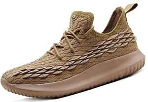CAMVAVSR Men's Sneakers Elastic Squama Sock Shoes Sport Fashion Lightweight Tennis Casual Walking Footwear with Fish Scales Design Summer Brown Size 9.5