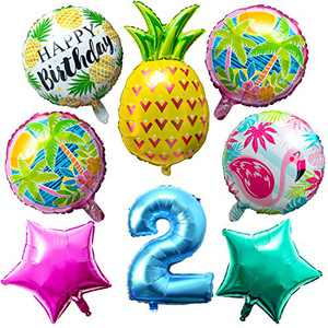 OSNIE Hawaiian Balloons Party Decorations for 2nd Birthday, 8 Pcs Giant Foil Mylar Balloons Pineapple Flamingo Palm Tree Leaves Tiki Summer Beach Pool Aloha Tropical Luau Party Decorations Supplies