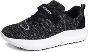 CAMVAVSR Kids Shoes No Tie Boys Tennis Walking Shoes Lightweight Sport Running Cute Girls Slip On Sneakers Outdoor Summer Black White Size 4 M US Big Kid