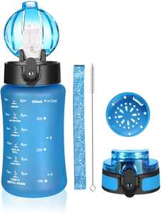 AIDEAMART Kids Water Bottle, Sports Water Bottle with Straw,Fruit Filter and Motivational Time Markings,BPA Free,Leakproof,350ml,500ml water bottle for adults,Kids,Outdoors Camping