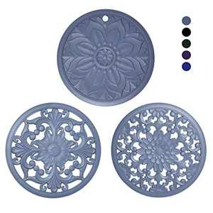 Mealprep Silicone Trivet Mats Non-slip Carved Potholders Kitchen Heat Protection Pad for Countertop Set of 3,Grey