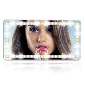 Gricol Car Sun Visor Mirror with Led Lights Automobile Makeup Mirror, 3 Light Mode Travel Vanity Mirror with Touch Screen, Sun-Shading Cosmetic Mirror Dimming USB Power
