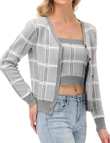 GRACE KARIN Womens Ladies Cardigan Sweaters V Neck Button Up with Tube Outfits(S,Light Gray)
