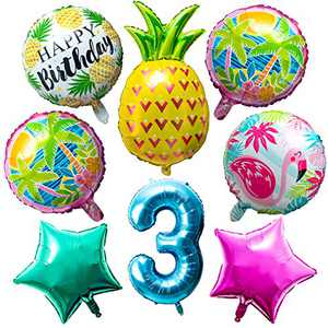 OSNIE Hawaiian Balloons Party Decorations for 3rd Birthday, 8 Pcs Giant Foil Mylar Balloons Pineapple Flamingo Palm Tree Leaves Tiki Summer Beach Pool Aloha Tropical Luau Party Decorations Supplies