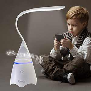 Desk Lamp for Kids, Gooseneck Lamp, Table Lamp with Phone Holder/USB Charging Port, Bedside Lamps with Bluetooth Speaker, Study Lamp with Memory Function, Touch Control Wireless LED Lamp
