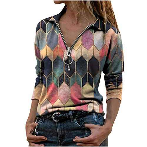 Womens Long Sleeve Tunic Tops Zip V Neck Geometric Print Pullover Blouses Shirts (Multicolor, L)