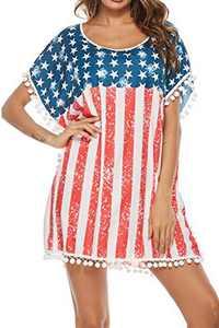 Adisputent Womens Swimsuit Cover Ups Crochet Beach Wear Tassel T Shirt Dress Round Neck Chiffon Bikini Bathing Suit Coverups Patriotic One Size