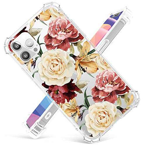 Cute Floral Case Compatible with iPhone 12Pro Max,12Pro,12 Mini,Slim Fit Clear TPU Bumper Cover,Shakeproof Protective Cases for Women Girls