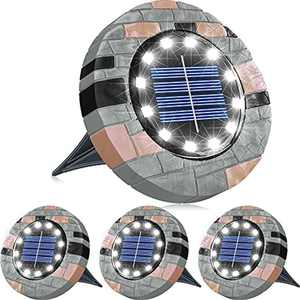 Biling Solar Ground Lights Outdoor,12 LED Solar Garden Lights Outdoor,IP65 Waterproof Disk Lights for Lawn Pathway Patio Garden Yard Driveway-White-4 Pack