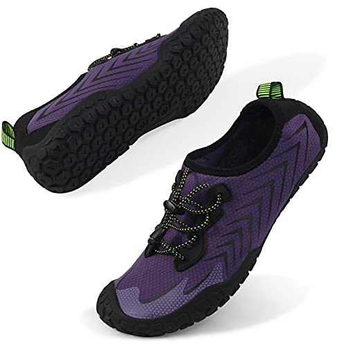 Oranginer Womens Quick Dry Water Shoes Breathable Athletic Shoes for Water Sports Outdoor Barefoot Sneakers Purple Size 10
