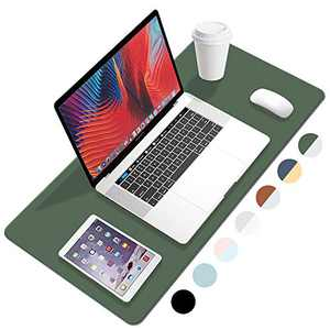 """FANMI PU Leather Desk Pad with Suede Base, Laptop Desk Table Protector Writing Mat, Waterproof Desk Writing Pad for Office and Home, Dual Sided Desk Pad (35.4""""x17.7"""",Dapk Green-Grey)"""
