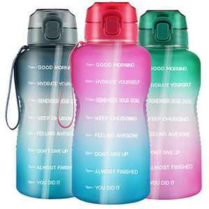 Large Water Bottle, 1 Gallon/128oz Wide Mouth with Straw, Portable Handle Leak-proof BPA Free Water Jug, Motivational with Time Marker, Ensure Daily Drink Water for Fitness Gym and Outdoor Sports