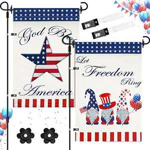 2 Pieces Patriotic Garden Flag 4th of July Memorial Day Independence Day Garden Flag Let Freedom Ring and God Bless America Star Flag with Anti-Wind Clip and Stopper for Outdoor Yard, 12 x 18 Inch