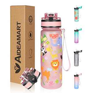 Kids Water Bottle with Time Marker Motivational ,Include 2 Lids (Straw Lid&Flip Top Lid )Carry Strap,Animal Printing Leakproof BPA Free Tritan Sports Water Bottles with Filter for School Fitness Outdoor