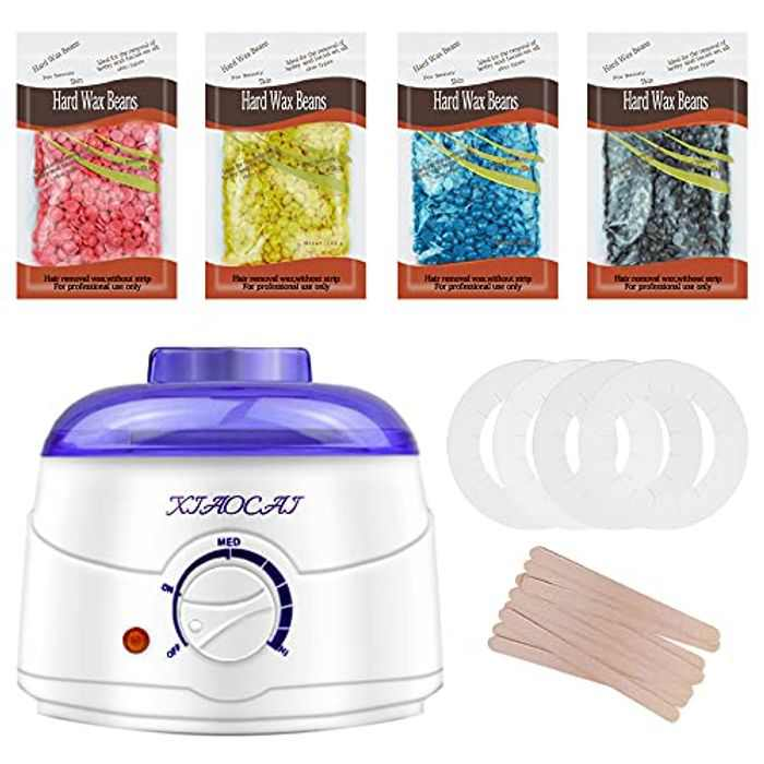 Wax Warmer, Hair Removal Waxing Kit with 4 Packs of Wax Beans Target for Facial Bikini Area Armpit.Melting Pot Hot Wax Heater Accessories Body Waxing Spa Painless at Home Wax Kit for Women and Men.