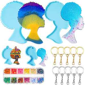 15 Pieces Afro Female Silicone Molds Set Afro Female Tray Resin Mold Woman Head Resin Keychain Molds Head Beauty Epoxy Mould with 10 Key Rings for DIY Coaster Tray Pendant Agate Tray Serving Board