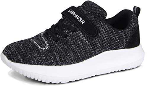 CAMVAVSR Slip On Sneakers for Boys Girls Walking Shoes Athletic Running Shoes Kids Fashion Sneakers for School Sports Fall Tennis Black White Size 12 M US Little Kid