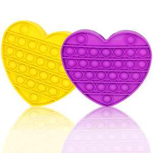 Push Pop Pop Bubble Fidget Sensory Toy 2pcs, Squeeze Sensory Toy Silicone Stress Reliever Toy, Autism Special Needs and Help Restore Emotions Gifts for Kids, Adults (Heart, Purple, Yellow)