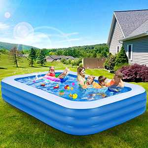 Kakashi Inflatable Swimming Pools, 120'' x 72'' x 22'' Inflatable Kiddie Pools, Blow Up Large Lounge Pools for Kids, Adults, Babies, Toddlers, Outdoor, Garden, Backyard