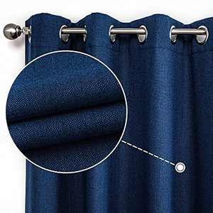 CUCRAF Full Blackout Window Curtains,Thermal Insulated Room Darkening Drapery for Bedroom Living Room,2 Panels Set(52 x 95 inches, Navy Blue)