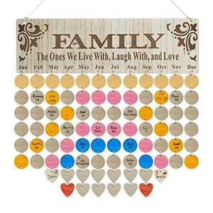 ZANDEOR Wooden Family Birthday Reminder Calendar Wall Hanging, Wood Reminder Board for Home Décor with 100 Wood Tags, DIY Gift for Mom, Dad, Kids and Friends