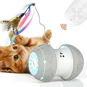 SEFON Robotic Cat Toys Interactive, 1000 mAh Large Capacity Battery Operated with USB Charging, Auto/RC 3 Mode Timed with 4 Feathers/Birds/Mouse Toys for Indoor Cats, All Floors Carpet Available