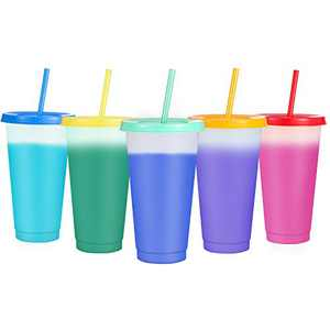 Plastic Tumblers with Lids & Straws 24oz,Sursip 5 Pack Reusable Party Drinking Cup BPA free Cold Coffee Tumbler | Color Changing Cups for Kids & Adults
