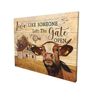 Farmhouse Wall Art Cow Pictures Wall Decor Cow Head Inspirational Wall Art Barn Ruatic For Bedroom Bathroom Framed Ready To Hang 12x16 Inch