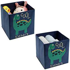 """Young Street Animal Foldable Storage Cubes Bins Boxes Kids Baby Children Collapsible Non-Woven Organizer for Toys/Books/Clothes/Laundry, Set of 2, 11"""" L x 11"""" W x 11"""" H, Dark Green Dinosaur"""
